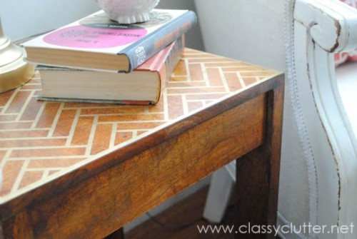 herringbone coffee table makeover via shelterness