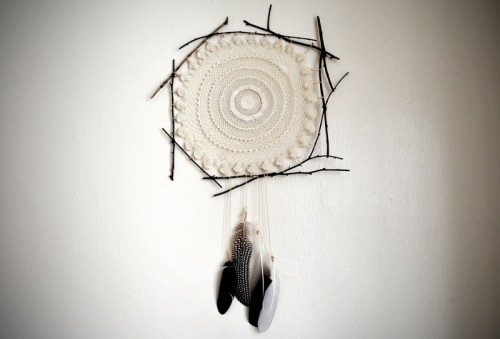 doily and twigs dreamcatcher (via allthegoodgirlsgotoheavenblog)