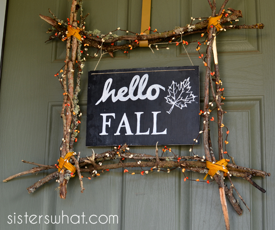 fall sign with a wreath