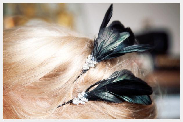 feather hair pin diy