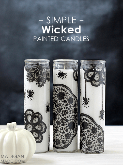 wicked painted candles (via madiganmade)