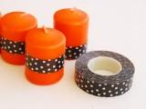 washi tape Halloween candle