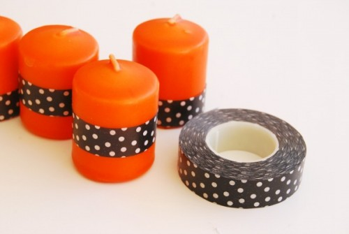 washi tape Halloween candle (via theproperpinwheel)