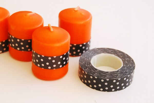 washi tape Halloween candle