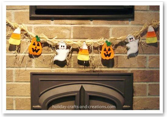 Picture of homemade halloween garland for Halloween girlande