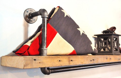 simple pipe shelves with reclaimed wood