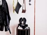 copper and concrete clothes rack