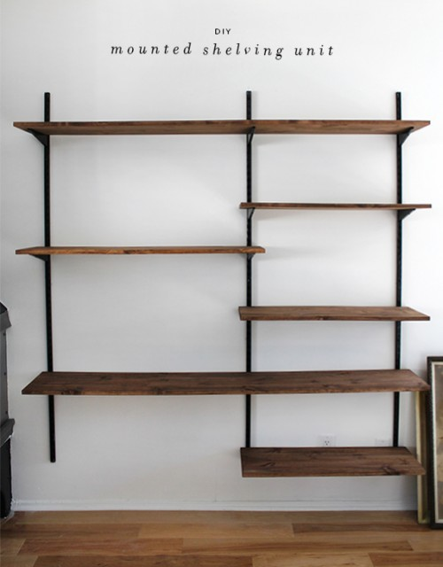 diy mounted shelving (via almostmakesperfect)