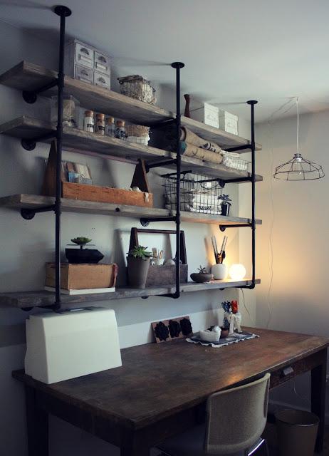 industrial rustic shelf (via sylvieliv)