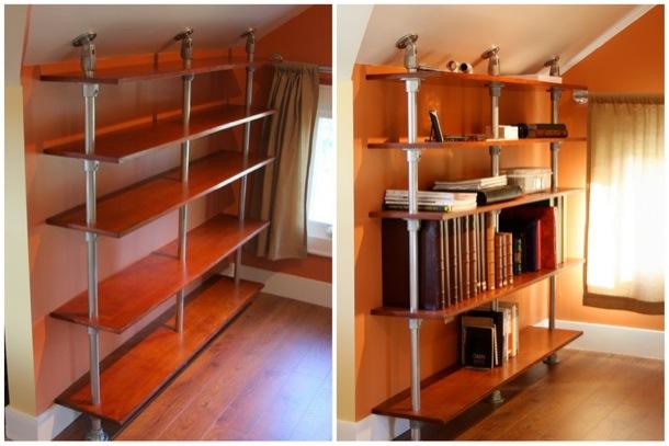 pole mounted floating bookshelf