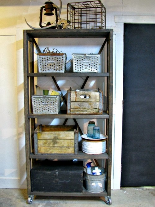 rolling industrial shelving (via blueroofcabin)