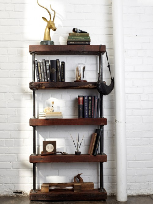 industrial rustic bookshelf (via hgtv)