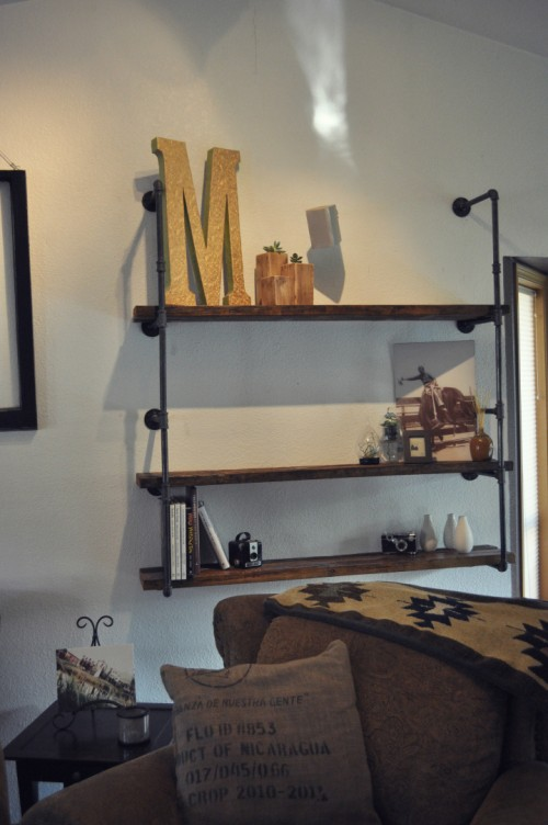 industrial pipe iron shelf (via shareabitoflove)