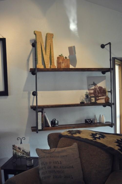 industrial pipe iron shelf (via shareabitoflove)
