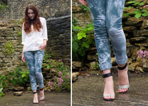 tie dye jeans (via thepeppermintstore)