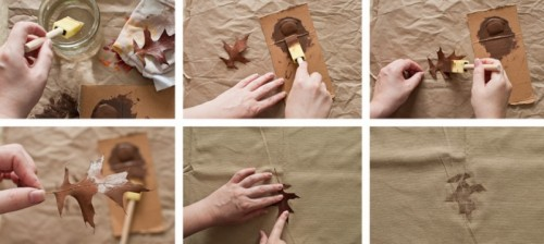 Awesome DIY Leaf Patterned Tablecloth