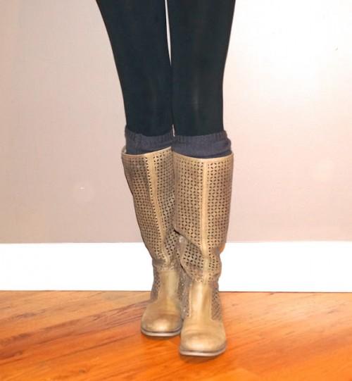 brown leg warmers (via celebritizedchicago)