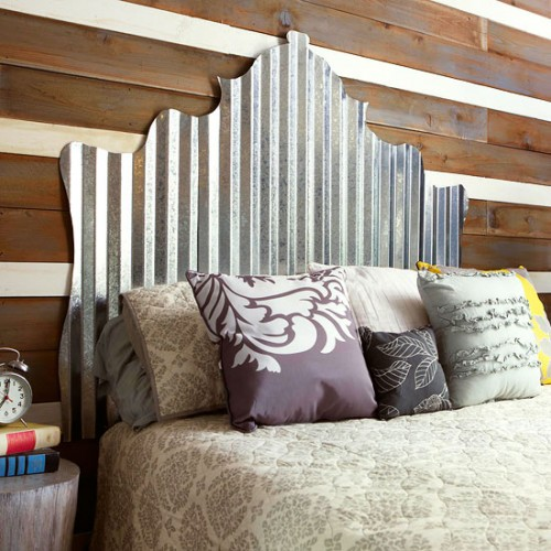 cut corrugated metal headboard  (via bhg)
