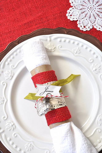 burlap and music paper napkin rings (via asweetspothome)
