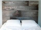 salvaged barnwood headboard