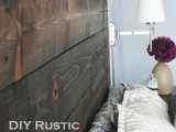 stained wood headboard