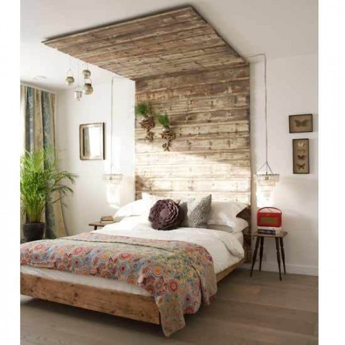 Spectacular canopy like wooden headboard via shelterness