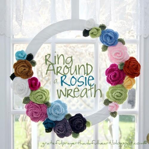 DIY crocheted roses wreath