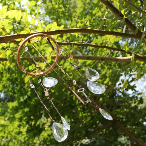 key and crystal wind chime