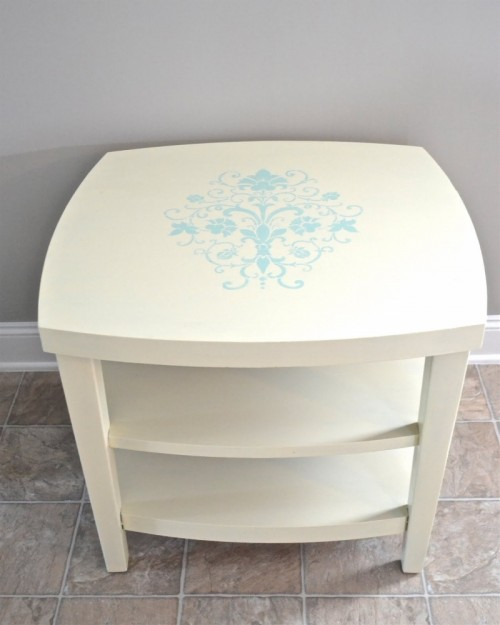 stenciled nightstand (via shelterness)