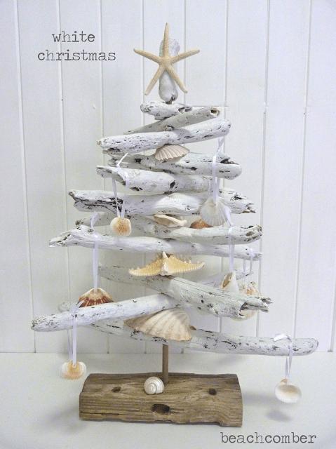 white driftwood Christmas tree