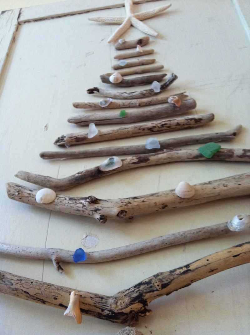Picture of shabby chic driftwood tree for How to make a hanging driftwood christmas tree