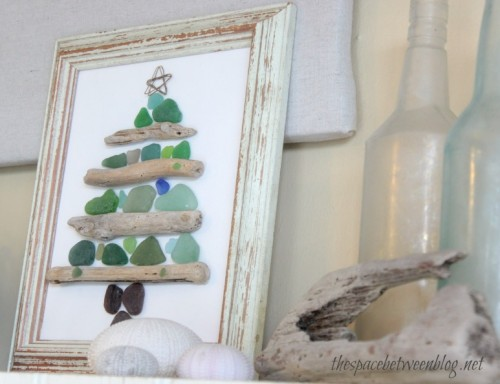 sea glass and driftwood Christmas tree