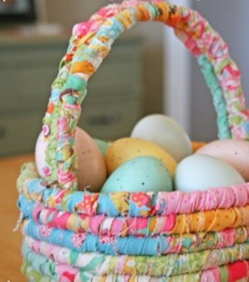 colorful fabric basket (via shelterness)