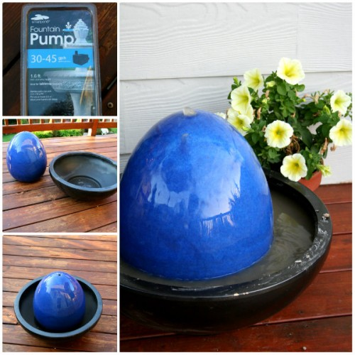 This cool bubble fountain is made using Ceramic Orb, ceramic bowl, a fountain kit and pea grawel. (via todayscreativeblog)