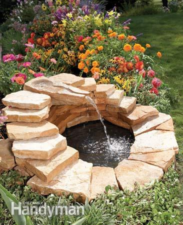 DIY Pond With A Waterfall Fountain Made With Stepping Stones. (via  Familyhandyman)