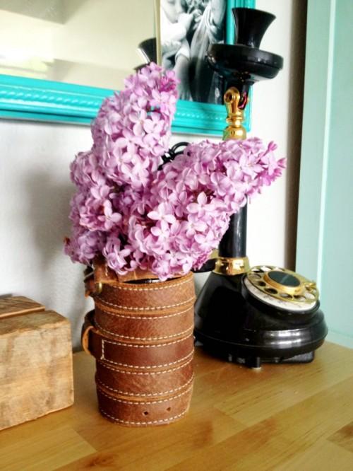 leather wrapped vase (via shelterness)