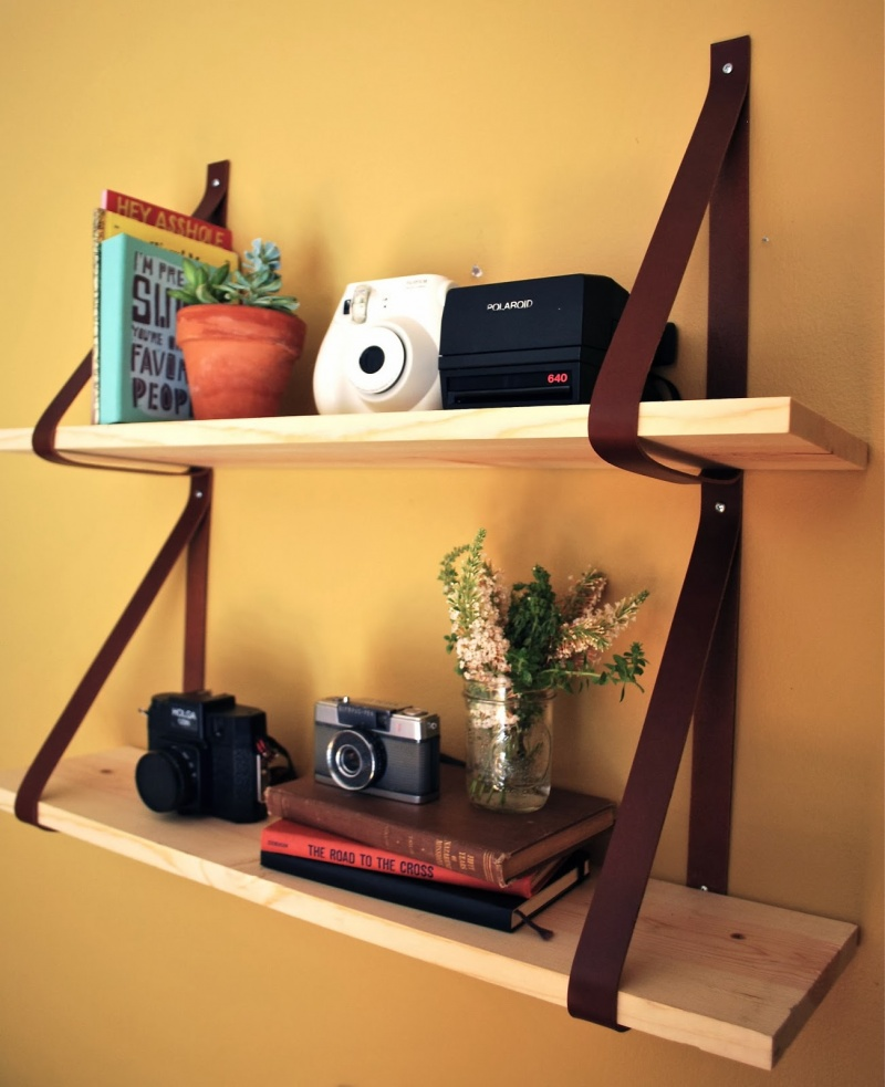 15 Awesome Leather Crafts For Home D Cor Leather Strap Shelf Via