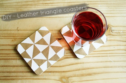 faux leather triangle coasters (via bywilma)