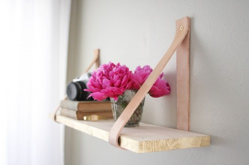 wood leather suspended shelf (via camillestyles)