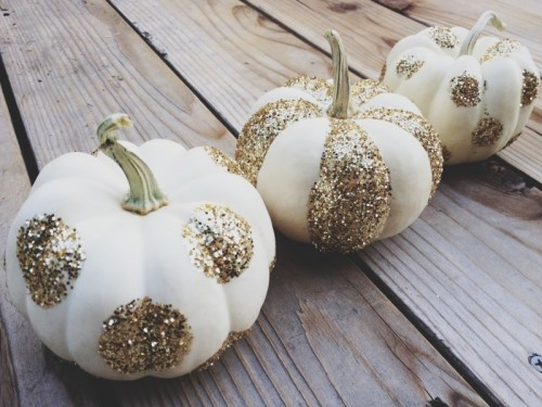 glittered pattern pumpkins