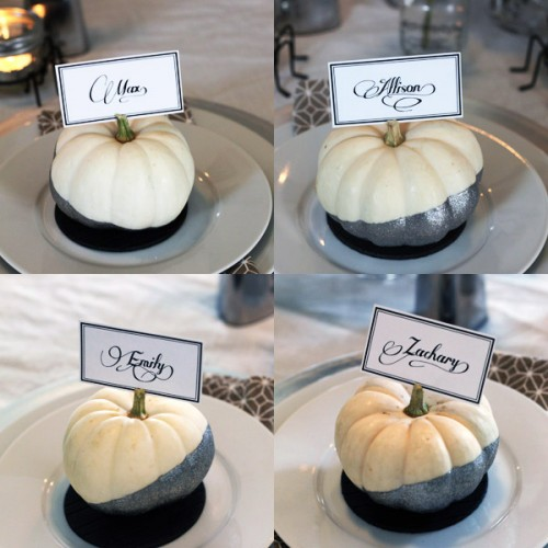 glitter pumpkin place cards (via formalfringe)