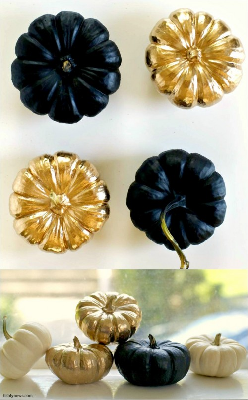 spray paint mini pumpkins