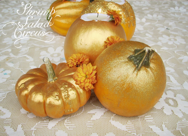 gilded pumpkin tea lights