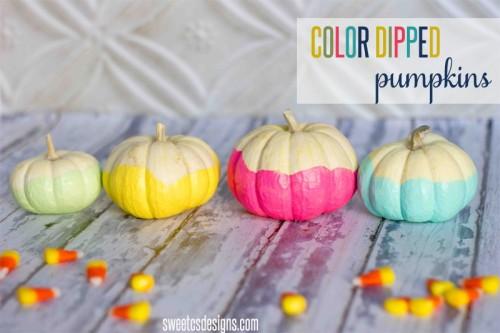 color dipped pumpkins