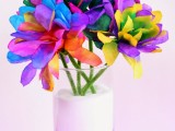 colored coffee filter flowers