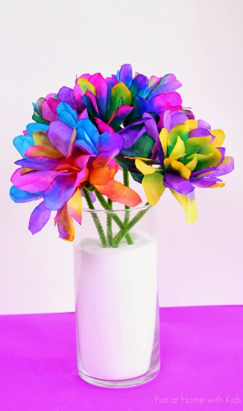 colored coffee filter flowers (via funathomewithkids)