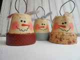 vintage clay pot snowmen