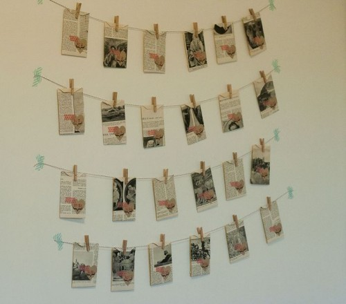 vintage book pages advent calendar (via francineclouden)