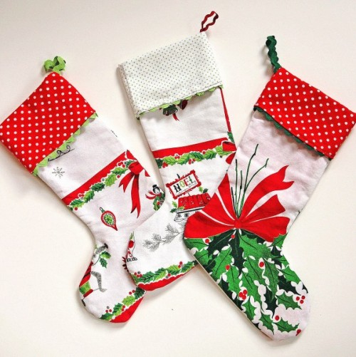 vintage tablecloth Christmas stockings (via )