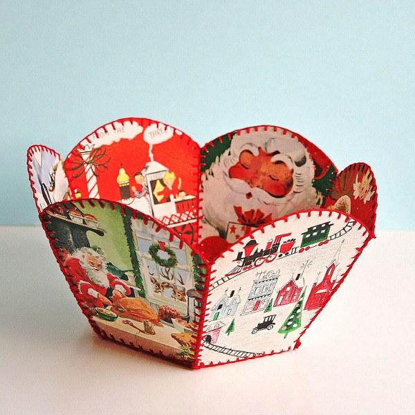 diy vintage Christmas bowl